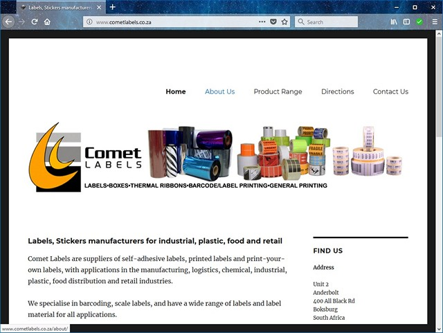 Comet Labels website redesign