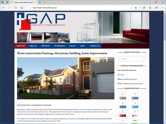 Home Renovations New Website Design